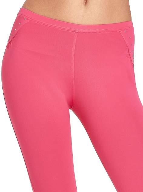 Różowe legginsy sportowe termalne z dżetami i ściągaczem                                  zdj.                                  6