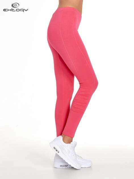 Różowe legginsy sportowe z drapowaniem                                  zdj.                                  2