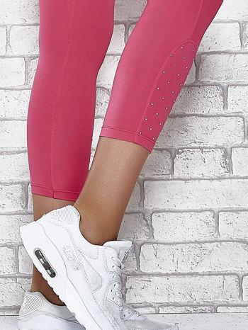 Różowe legginsy sportowe z dżetami na dole nogawki                                  zdj.                                  7