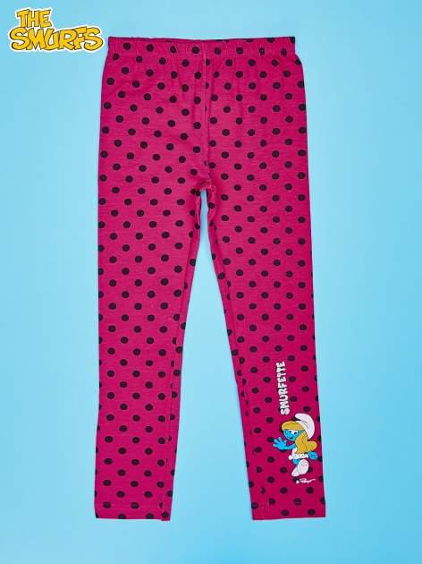 Różowe legginsy w groszki dla dziewczynki SMERFY