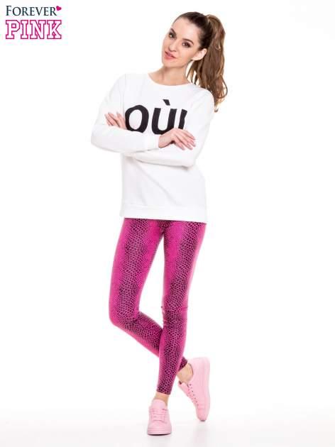 Różowe legginsy z efektem skóry krokodyla                                  zdj.                                  2