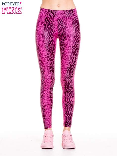 Różowe legginsy z efektem skóry krokodyla                                  zdj.                                  1