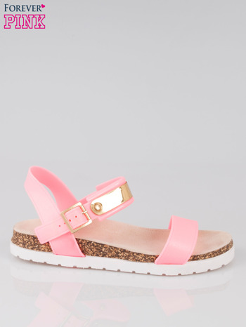 Różowe sandały damskie z blaszką