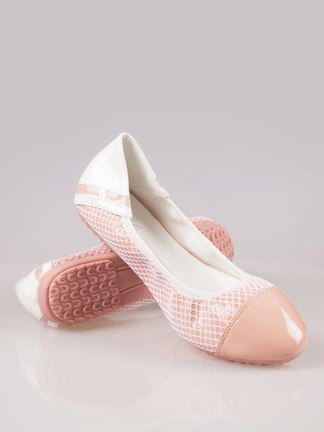 Różowe siateczkowe baleriny Whippie na gumkę                                  zdj.                                  2