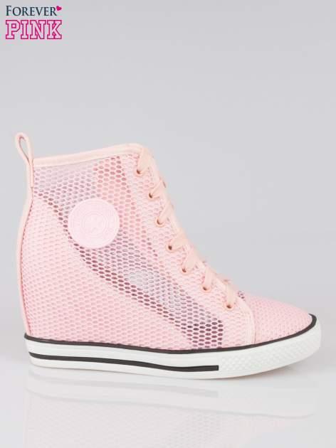 Różowe siateczkowe sneakersy damskie