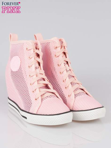 Różowe siateczkowe sneakersy damskie                                  zdj.                                  2