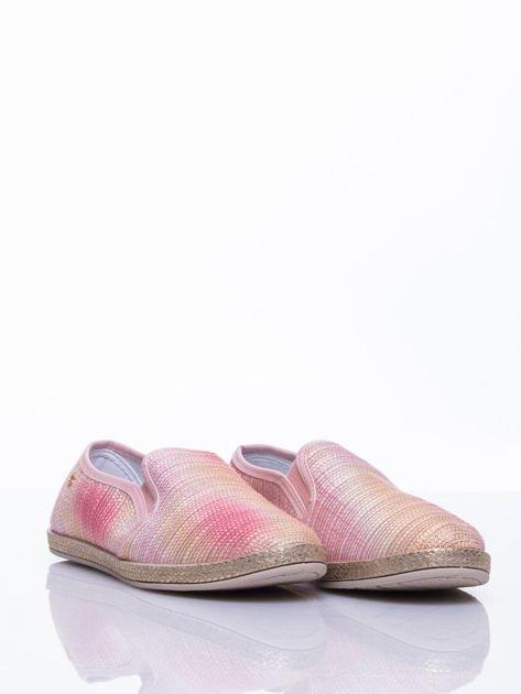 Różowe sliponki material Stardust ombre na słomkowej podeszwie                                  zdj.                                  3