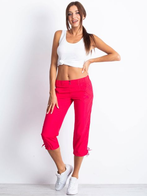 Różowe spodnie sportowe capri z guzikami                                  zdj.                                  2