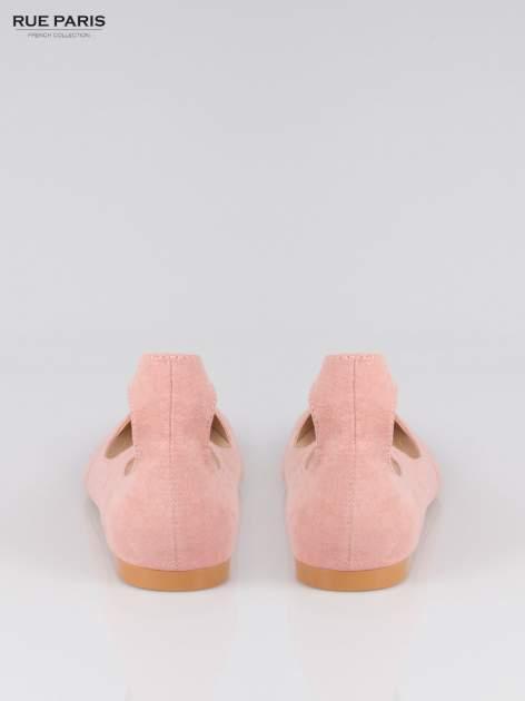 Różowe wiązane baleriny faux suede Kim lace up z zamszu                                  zdj.                                  3