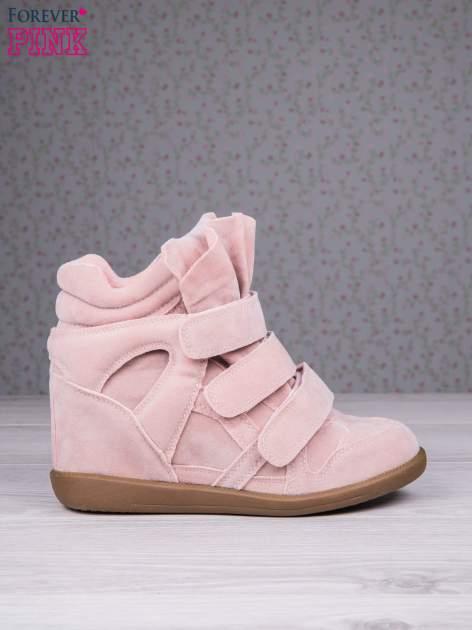 Różowe zamszowe sneakersy na rzepy Tris                                  zdj.                                  2