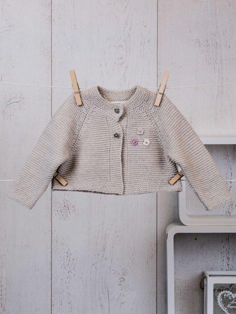Różowo-beżowy ciepły niemowlęcy 3-częściowy komplet z sukieneczką i sweterkiem dla dziewczynki na co dzień i na specjalne okazje                              zdj.                              6