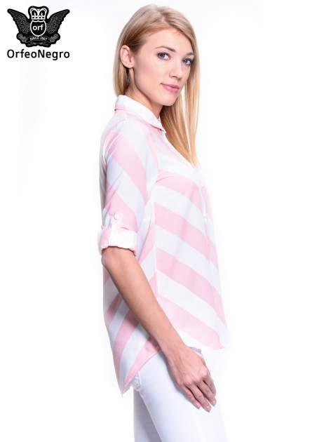Różowo-biała koszula w skośne pasy                                  zdj.                                  3