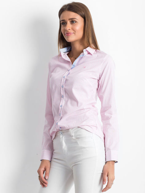 Różowo-biała koszula we wzór pasków                              zdj.                              3