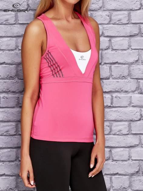 Różowo-biały top sportowy z krzyżowanymi ramiączkami na plecach                                  zdj.                                  3