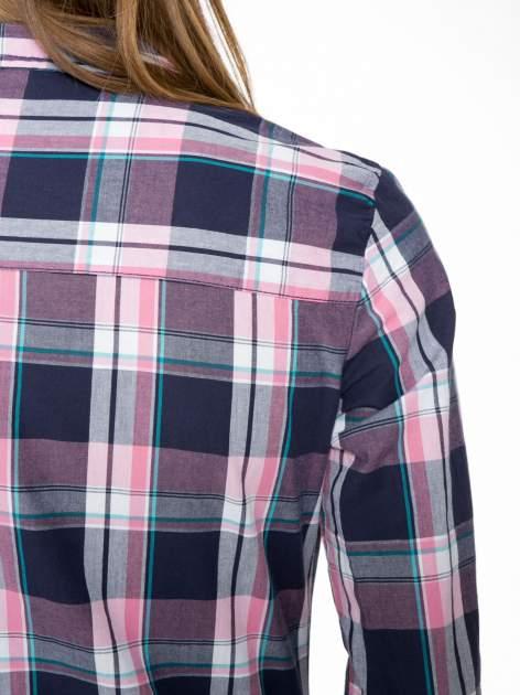 Różowo-granatowa koszula w kratę z kieszeniami                                  zdj.                                  10