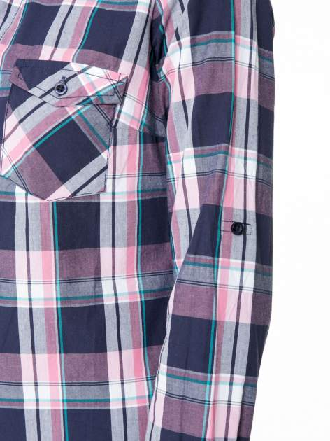 Różowo-granatowa koszula w kratę z kieszeniami                                  zdj.                                  12