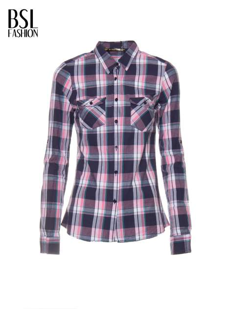 Różowo-granatowa koszula w kratę z kieszeniami                                  zdj.                                  2