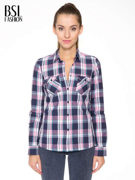 Różowo-granatowa koszula w kratę z kieszeniami                                  zdj.                                  1