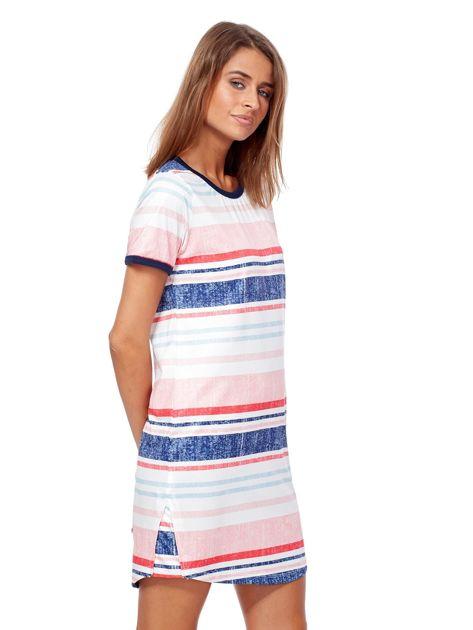 Różowo-niebieska sukienka z nadrukiem w paski                              zdj.                              5