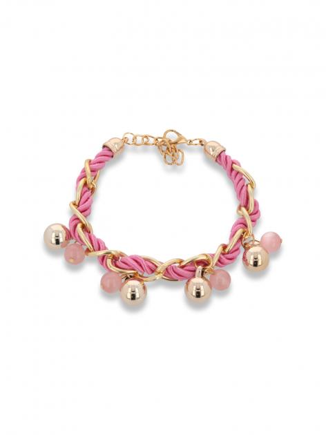 Różowo - złota bransoletka z zawieszkami