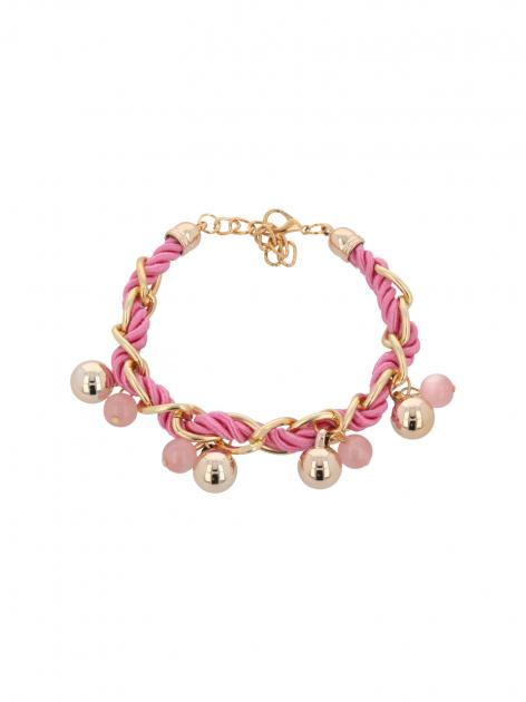 Różowo - złota bransoletka z zawieszkami                                  zdj.                                  2
