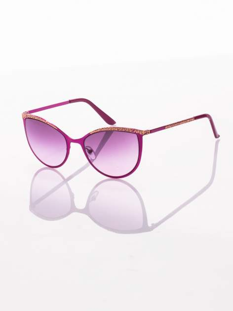 """Różowo-złote okulary przeciwsłoneczne w stylu """"KOCIE OCZY""""                                  zdj.                                  1"""