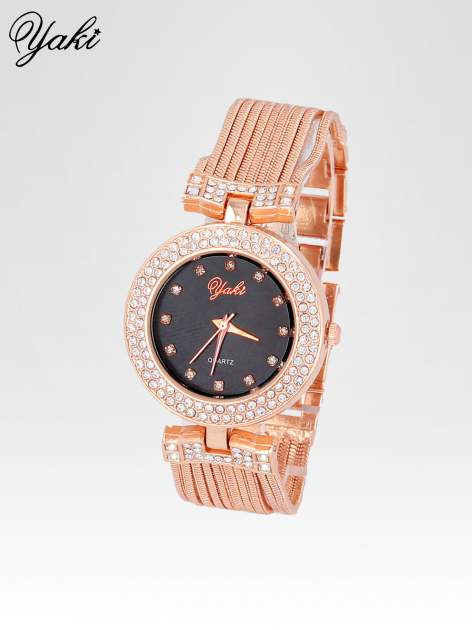 Różowozłoty zegarek damski na bransolecie z łańcuszków z czarną  tarczą                                  zdj.                                  2