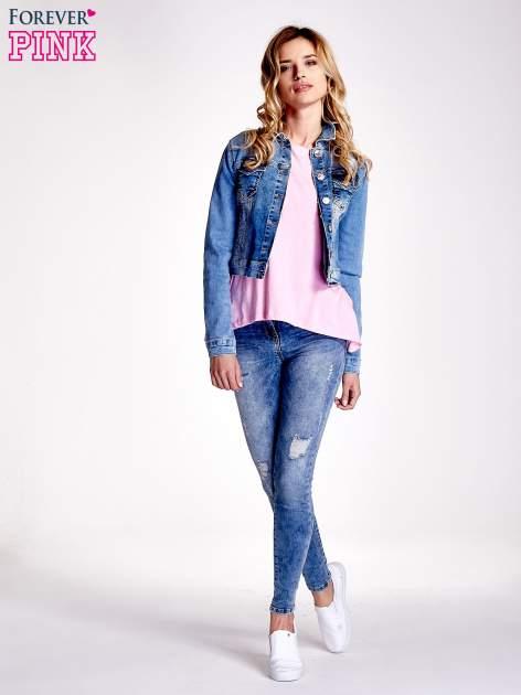 Różowy asymetryczny t-shirt                                  zdj.                                  2