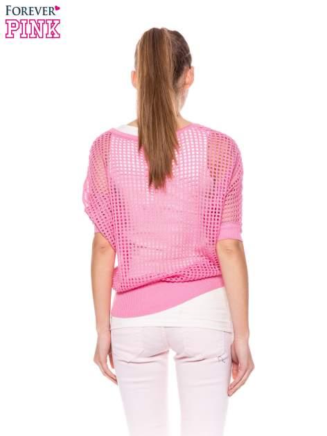 Różowy ażurowy sweter oversize                                  zdj.                                  4
