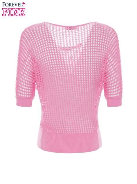 Różowy ażurowy sweter oversize                                  zdj.                                  2