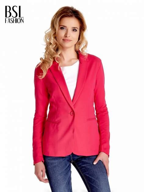 Różowy bawełniany żakiet damski na jeden guzik                                  zdj.                                  1