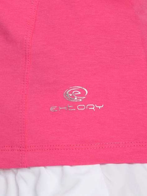 Różowy damski t-shirt sportowy z dekoltem U                                  zdj.                                  5