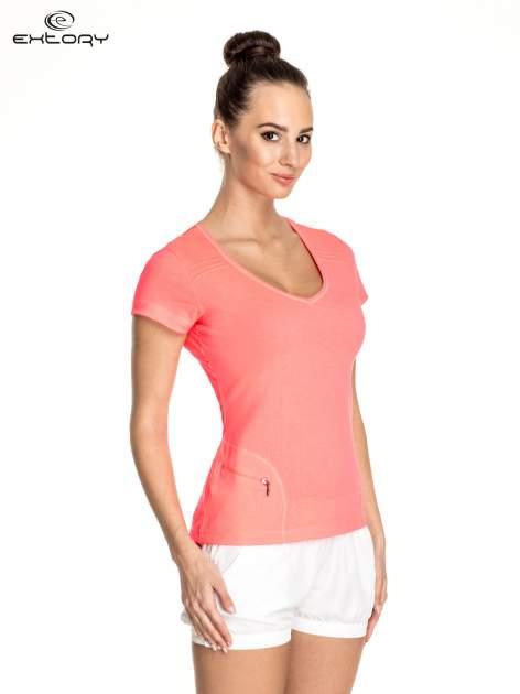 Różowy damski t-shirt sportowy z kieszonką                                  zdj.                                  3