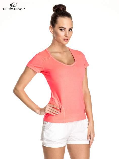 Różowy damski t-shirt sportowy z kieszonką                                  zdj.                                  1