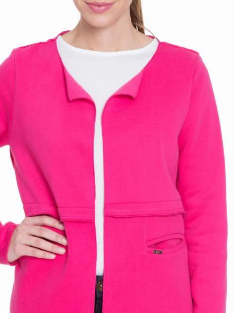 Różowy dresowy bluzopłaszczyk o pudełkowym kroju                                  zdj.                                  5