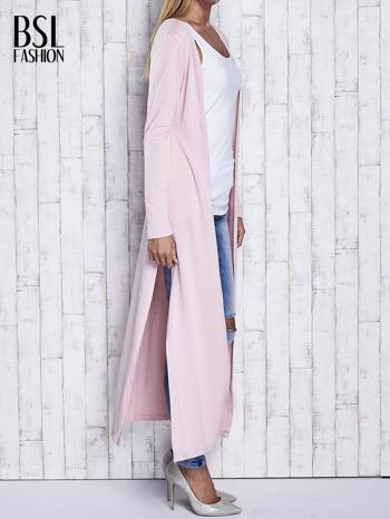 Różowy gładki sweter z otwartym dekoltem                                  zdj.                                  3