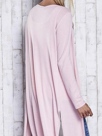 Różowy gładki sweter z otwartym dekoltem                                  zdj.                                  5