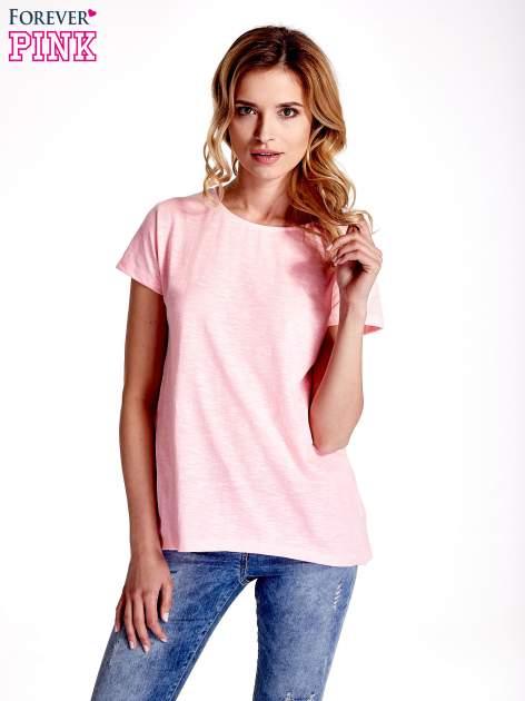 Różowy jednolity t-shirt