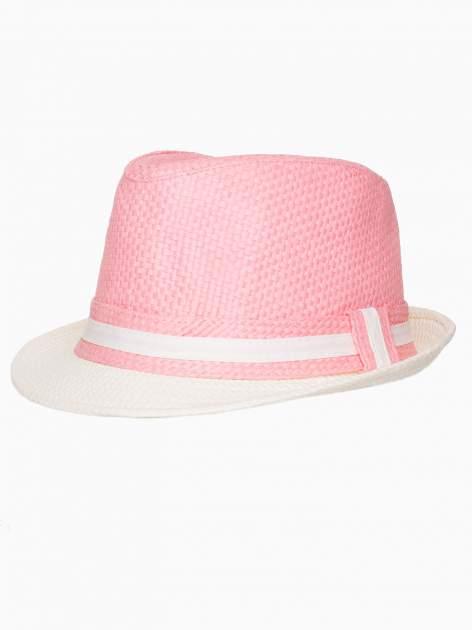 Różowy kapelusz fedora z białym wykończeniem                                  zdj.                                  7