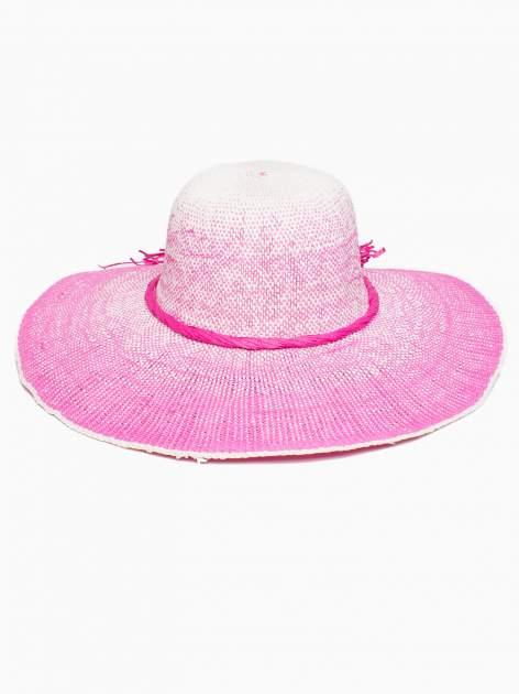 Różowy kapelusz słomiany z dużym rondem i kwiatem                                  zdj.                                  5