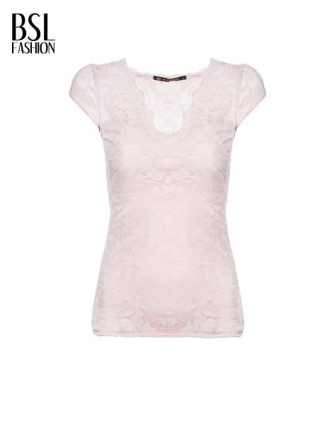 Różowy koronkowy t-shirt z głębokim dekoltem                                  zdj.                                  2