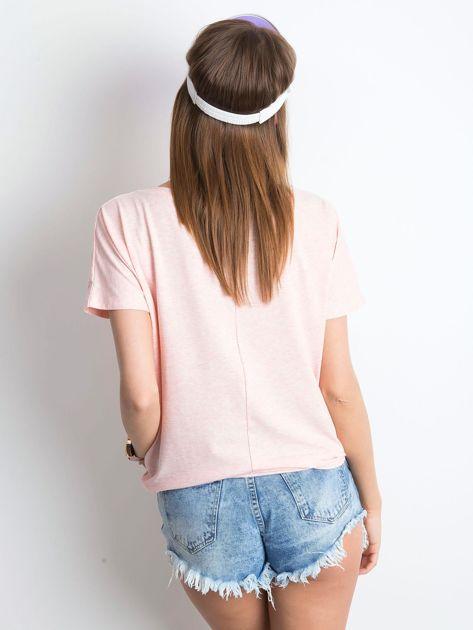 Różowy melanżowy t-shirt Curiosity                              zdj.                              2