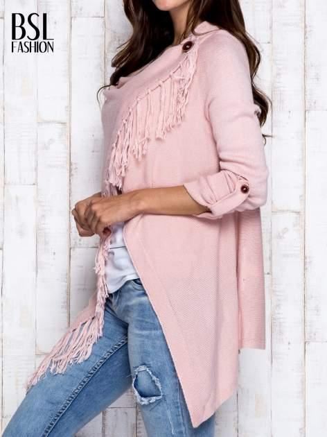 Różowy otwarty sweter z podwijanymi rękawami                                  zdj.                                  4