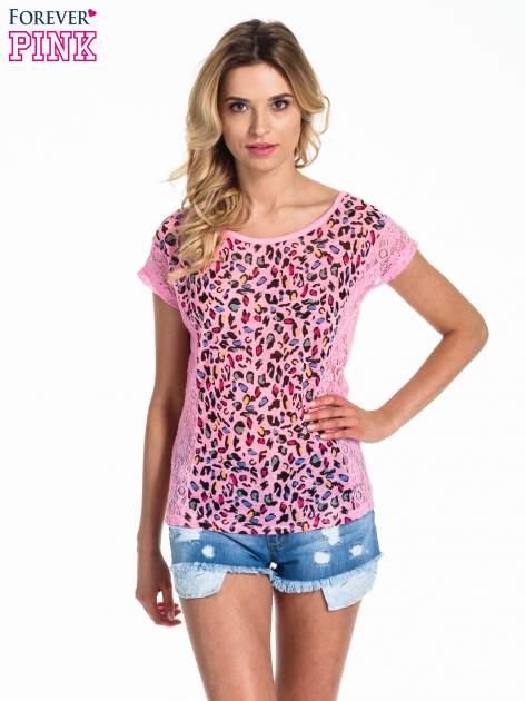 Różowy panterkowy t-shirt z koronką                                   zdj.                                  1