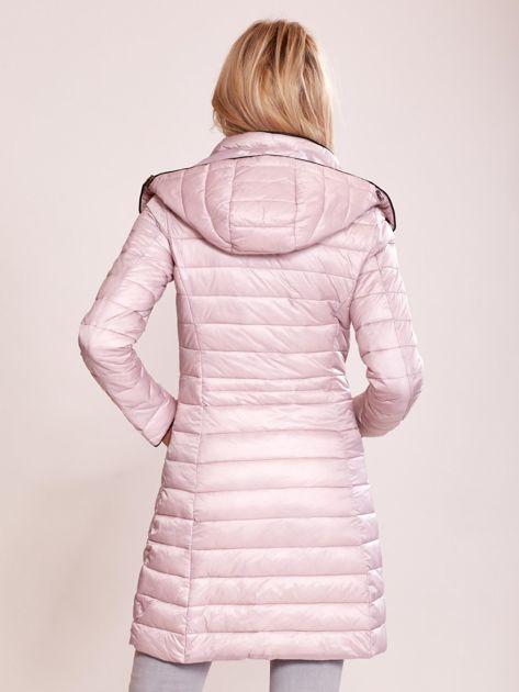 132f81376c452e Różowy pikowany płaszcz z odpinanym kapturem - Kurtka przejściowa ...