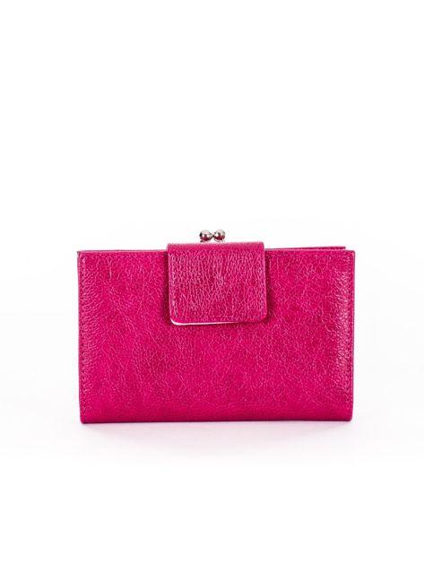 Różowy portfel damski z klapką