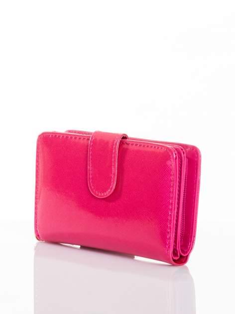 Różowy portfel efekt skóry saffiano                                  zdj.                                  2