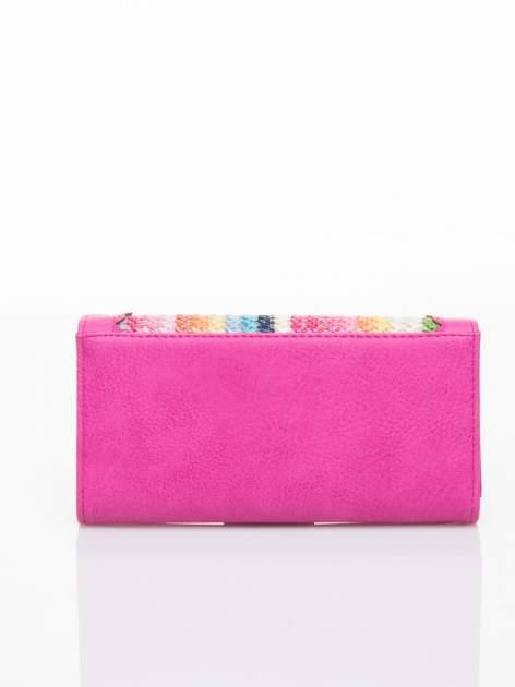 Różowy portfel z ażurowaniem i plecionką                                  zdj.                                  2