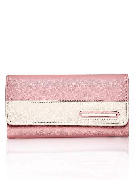 Różowy portfel z beżowym wykończeniem