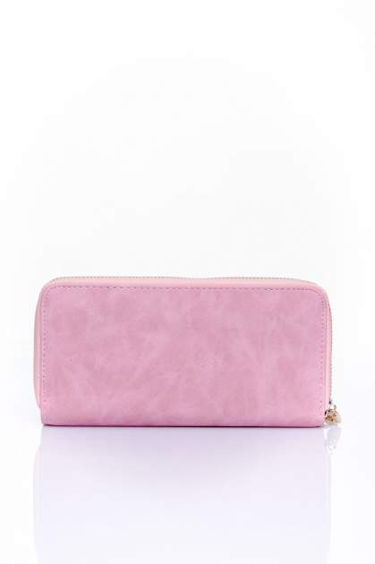 Różowy portfel z kieszonką ze złotym elementem                                  zdj.                                  2